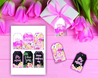 Mother's Day Printable Gift Tags / Happy Mother's Day Gift Tags / Printable Mothers Day Gift Tags / Floral Happy Mother's Day Gift Tags