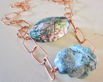 Peacock Abalone & Turquoise Nugget ABACUS - Wilma Flintstone Necklace - Statement - Etsy Jewelry catROCKS - Grace Frankie - Copper Chain