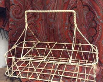 Vintage, Rusty, Chippy Painted Metal Tote, Cottage Rust Metal Tote, Primitive Metal Wire Tote