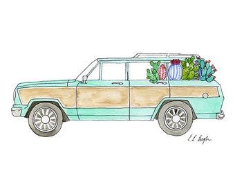 watercolor car with cactus, original painting, car illustration, cactus art, beach decor, wall art, mint green, wagoneer, vintage car