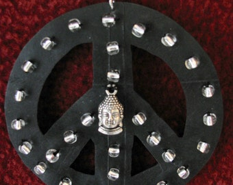 Recycled Peace sign Christmas ornament/necklace, Upcycled bike tire Peace Buddha Necklace, Peace Recycled Christmas ornament/necklace