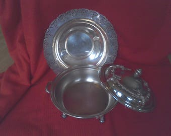Silver Plated serving bowls, wedding . serving, fine dining, cover serving dish