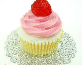 BIG CUPCAKE - Strawberry Top - Full Size Cupcake Soap