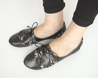 Oxfords Shoes Handmade Black Lace and Leather Laced Shoes
