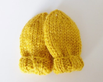 Hand Knit Yellow Baby Mittens for Infant Size 3 to 6 Months, Kid Warm Clothing, Gender Neutral Baby Shower Gift, Newborn No Thumb Mitts