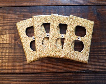 Gold Glitter Light Switch And Outlet Covers | Sparkle - Set of 4 -  Glitter Decor - Gold Wall Art - Gold Nursery - Home Decor - Faux Glitter