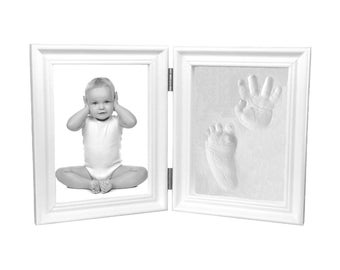 Baby Hand Print and Footprint Air Drying Stone Clay Bi-Fold Quality Wood Photo Frame Gift Set (White)