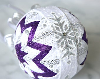 Quilted Christmas Ornament-Snowflakes-Purple-White-Silver-Frosty Frolic