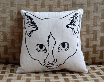 Violet, Cat, Throw Pillow, Screenprinted, Illustration, Small