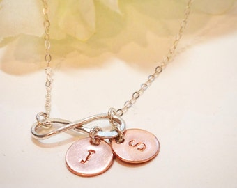Hand Stamped Dainty infinity necklace with initials-couples infinity necklace-sister necklace-Bridesmaid necklace-Friendship necklace