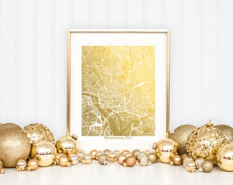 Washington D.C. Map, Gold Foil Map™, Washington DC Print, Gold Foil Print, Washington Map Print, Gift for Traveler, Map Print, Foil Maps