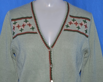 80s Green Flowered Vintage Cardigan Sweater Women's Medium
