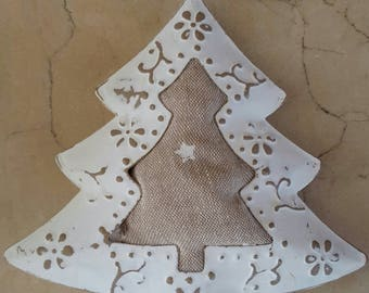 Christmas decoration made of metal and fabric 12 x 11 cm