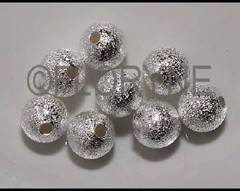 8 round beads sparkling 8mm, silver