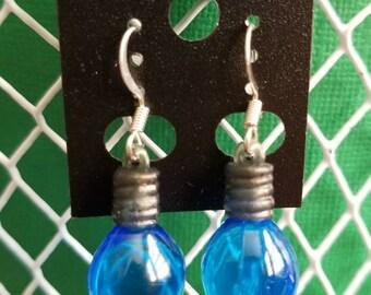 Blue Christmas Bulb Earrings/Christmas Tree/Lightbulb
