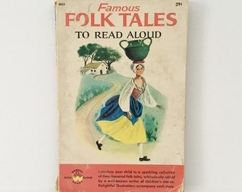 Folk Tales Book 1961 Paperback Illustrated Real Aloud Stories folk tales