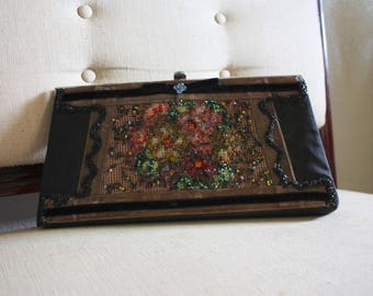 Vintage Black hand beaded Clutch by Veldore of Houston