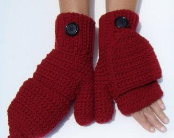 Burgundy Convertible Fingerless Mittens, Marsala Mittens, Winter Apparel, Texting Mittens, Crochet Fingerless Burgundy Mittens, Glove