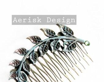Patina Arch Leaves Branch Comb (Vintage Fashion) Bridal Wedding headpiece,Greek Laurel Hair Comb, Vintage Bride,Wedding Bridal Hair Comb