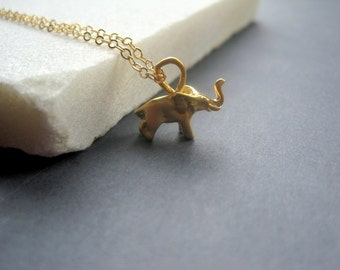 Gold Elephant Necklace - Tiny Elephant Necklace - Minimal Modern Necklace - Good Luck Necklace - Dainty Gold Necklace - Elephant Gift - Tiny
