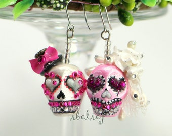 Skull pink the day of the dead skulls bride&groom earrings stone