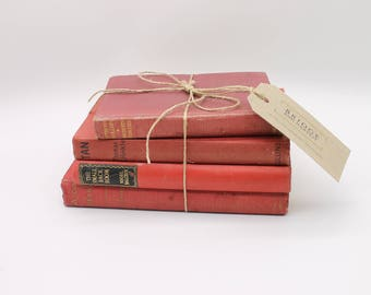 Set of Four, Hardcover Antique, Red Books/ Display Books