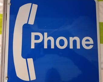 VINTAGE Blue Telephone Booth Sign