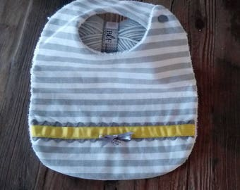 Bib made of linen with grey and white stripes