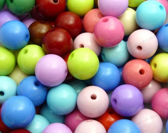 16mm Chunky Bubblegum Beads - Bulk 30pcs - Chunky Gumball Beads, Candy Color Beads, Assorted Colors, Round Acrylic Beads - BR1-11