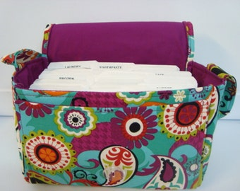 "Large 4"" Size Coupon Organizer Holder - Attaches to Your Cart- Multi Color Teal Paisley"