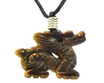 Tigers Eye Dragon Pendant Hand Carved Gemstone Totem Zodiac Necklace