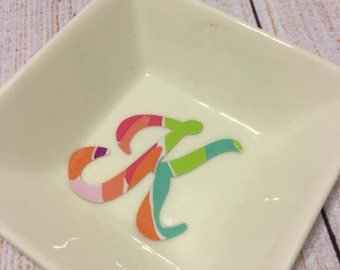 Bling-n-Ring Dish with Patterned Vinyl Initial or Monogram
