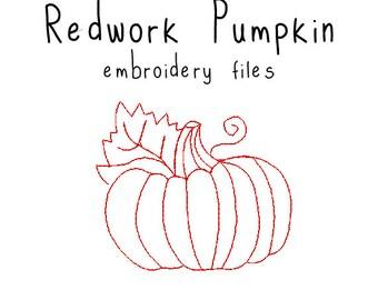 Redwork Pumpkin EMBROIDERY MACHINE FILES pattern design hus jef pes dst all formats red work simple Instant Download digital applique cute
