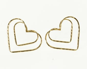 10k Diamond Cut Texture Layered Double Heart Post Back Earrings Gold