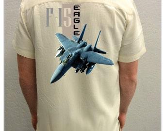 Men's Airplane Shirt-F-15 Eagle-Aviation Shirt ,Ivory-airplane gift, veteran gift, grandpa gift, military gift, gifts for men,history buff