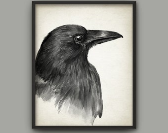 Raven Watercolor Art Print - Crow Bird Painting Wall Art Poster - Black Bird Home Decor - Rustic Raven Wall Art Print - Gothic Poster AB588B