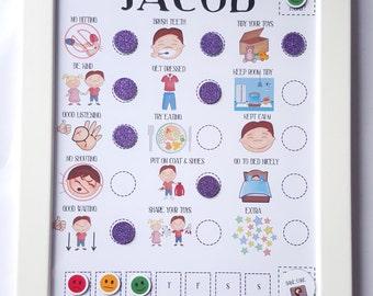 Kids Behaviour Reward Chart, toddler routine chart, visual aid, ASD, ADHD, kids magnet reward chart, full imagery, picture reward chart