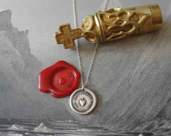 Wax Seal Necklace - Heart Cross antique Christian wax seal jewelry - My God It Is Yours French motto by RQP Studio