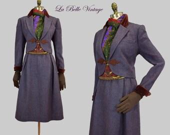Oscar De La Renta Purple Tweed Suit Vintage 70s Jacket Skirt Scarf Set ~ Ornamental Braid ~ Velvet Collar Cuffs