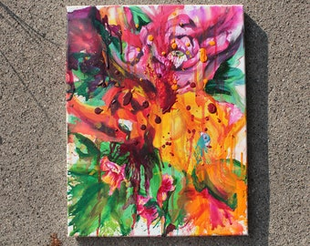 Floral Eyes - Hidden Eyes Peeking Out From Blended Smeared Dripping Trippy Cabbage Roses Mixed Media Painting
