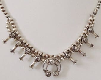 """Navajo Sterling Silver Native American Baby Squash Blossom Necklace 17"""" - Larry  Curley"""