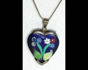 Millefiori tm Sterling Silver Blue Heart with flowers necklace on long sterling chain.