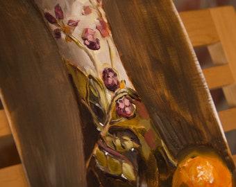 Original Oil Still Life- Vase and Orange, 29.5x20cm