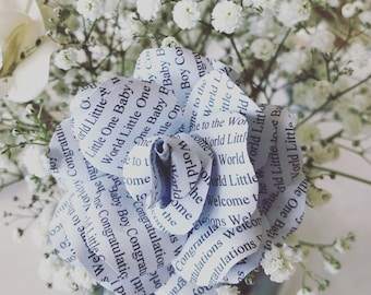 Personalised New Baby Paper Rose by The Craftea House