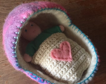 Baby in a cradle, Waldorf toy, Small doll