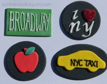 12 edible NEW YORK INSPIRED big apple taxi cab heart cupcake cookie cake topper decoration anniversary birthday 18th 21st wedding engagement