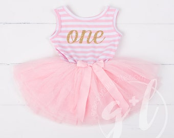 First Birthday outfit dress with gold glitter letters and pink tutu for girls or toddlers, sleeveless