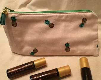 Pineapple, Pink, Polka Dot Essential Oil Bags, EO Pouch
