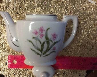 Tiny teapot Grant crest Japan pink orchid design rare sale! HTF