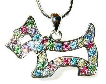 Swarovski Crystal Rainbow Scottie Dog WESTIE SCOTTISH Pendant Chain Necklace Christmas Best Friend Gift New